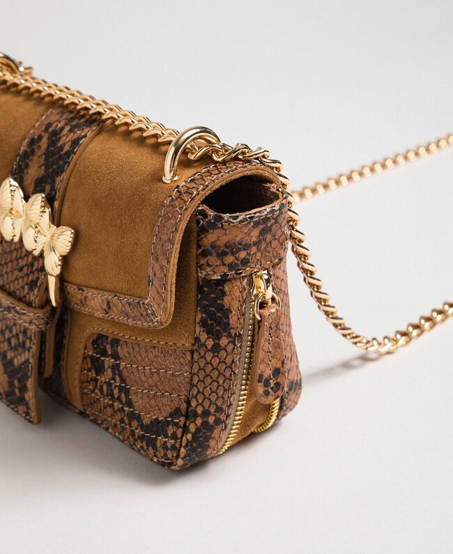 Small Rebel shoulder bag in suede and leather Brandy Python Print Woman 192TO8240-01