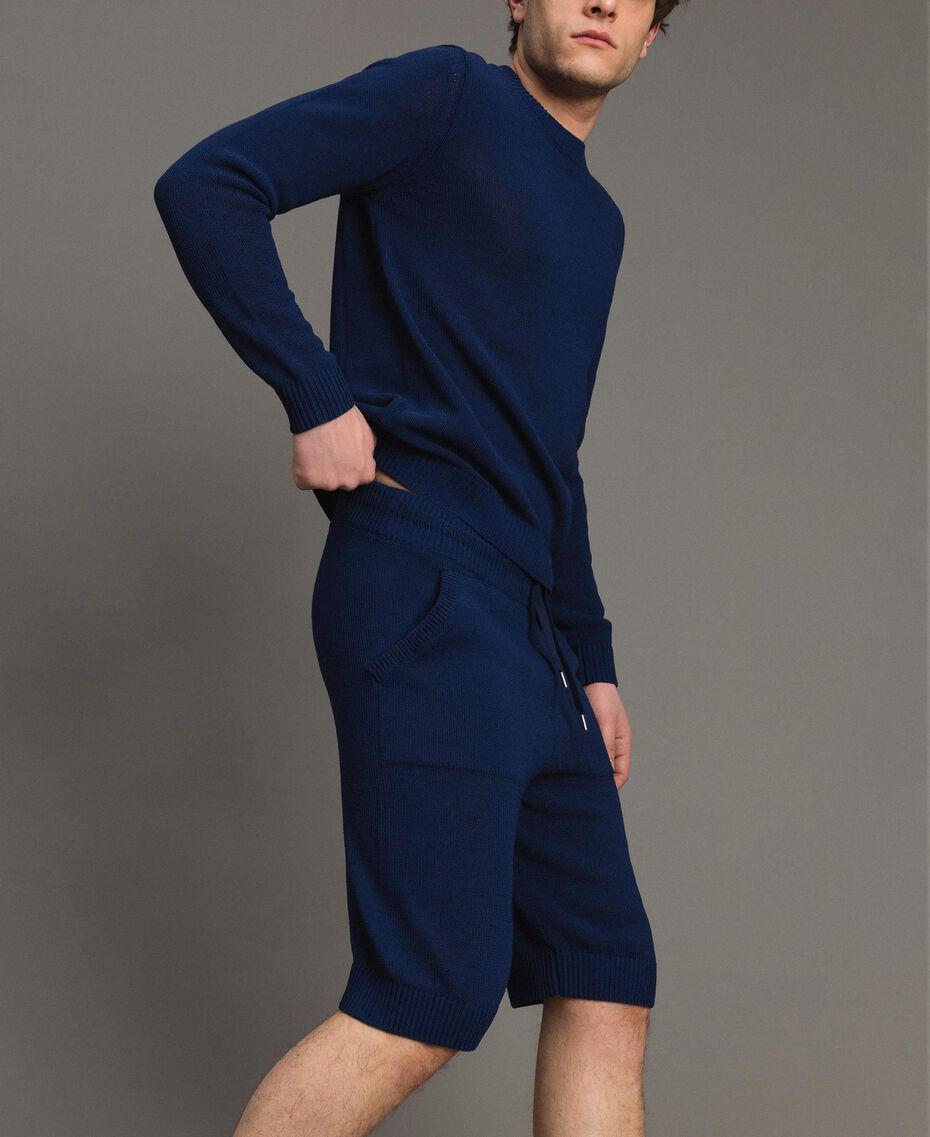 Bermuda-Shorts aus Baumwollmischung Blackout Blau Mann 191UT3084-02