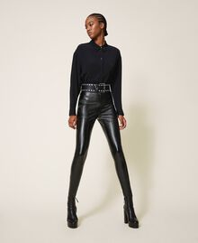 Leather belt with bezels and logo Black Woman 202TA4344-0S