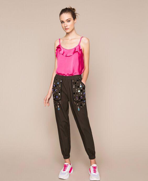 Поплиновые брюки-джоггеры с вышивкой