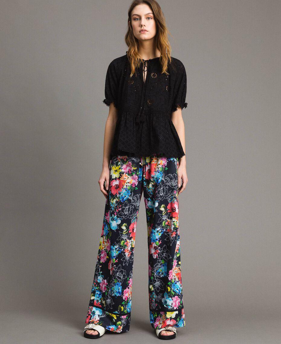 Pantalon palazzo avec imprimé floral Imprimé Fleur Multicolore Noir Total Femme 191MT2293-03