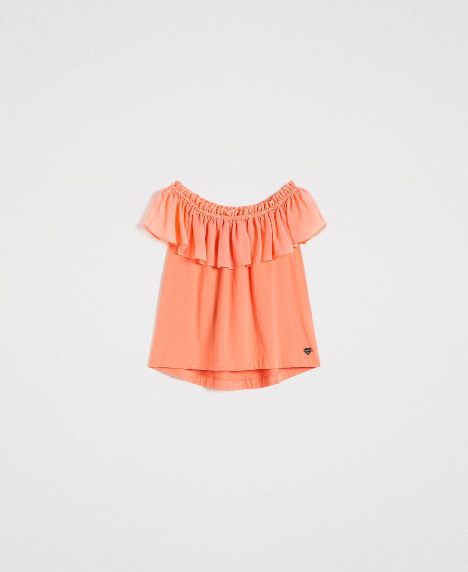 """Top volanté en mousseline Rose """"Crème De Tangerine"""" Femme 191LB2KFF-0S"""