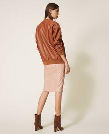Sweatshirt aus Lederimitat Terrakottarot Frau 202LI2GCC-03