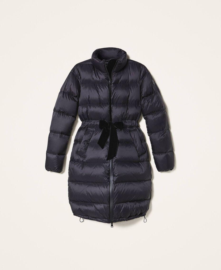 Long puffer jacket with velvet drawstring Black Woman 202MP2541-0S