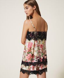 Printed satin top with lace Large Flower Print Woman 202LL2EKK-03