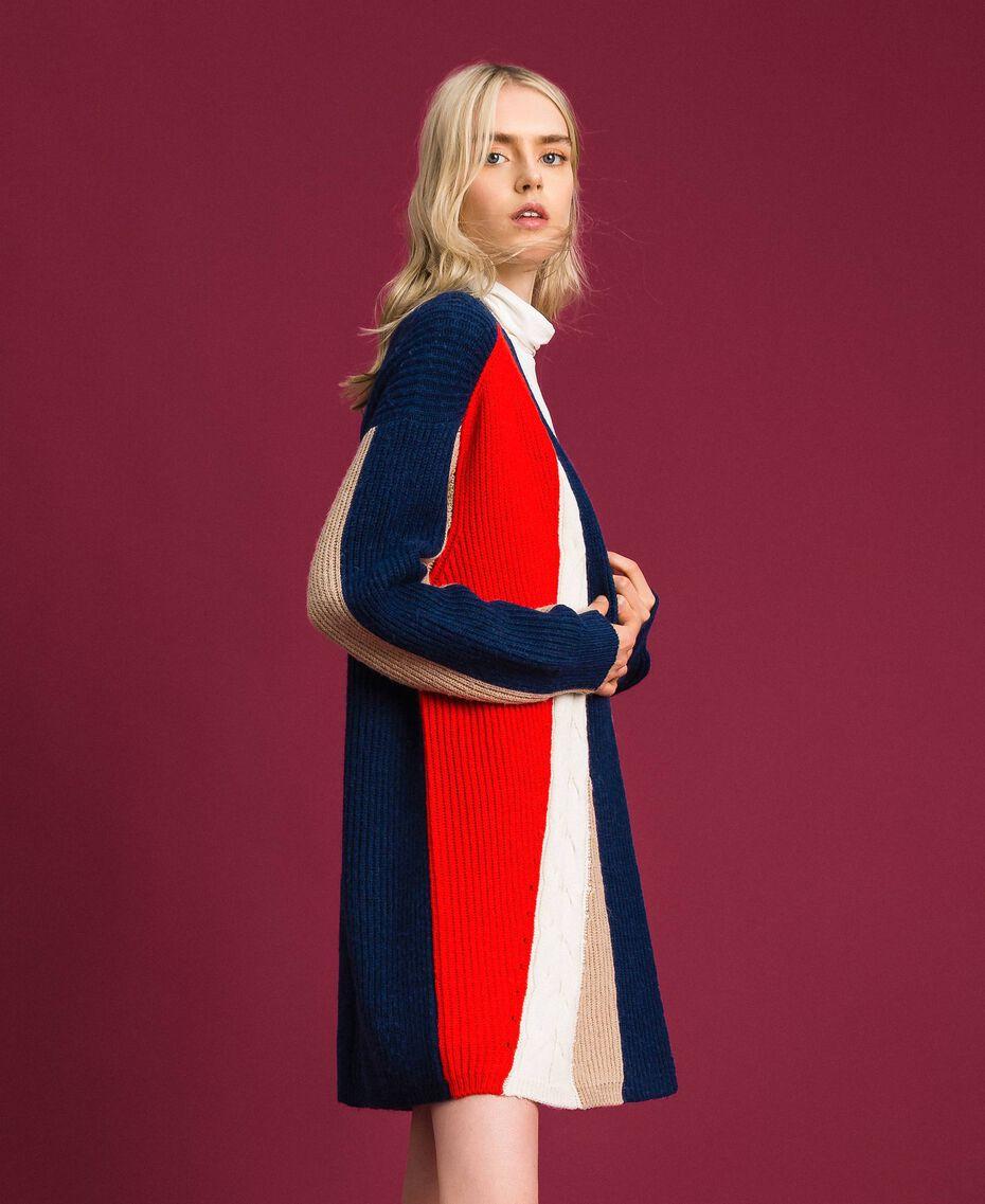 """Maxi cardigan in misto lana e alpaca Rosso """"Corallo"""" / Blu / Beige Donna 192MT3073-01"""