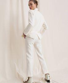 Pantalon cigarette en lin mélangé Blanc Neige Femme 201TP2256-03