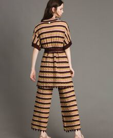 "Palazzo trousers with lurex stripes Multicolour ""Bronze Powder"" Brown Woman 191LB3AEE-03"