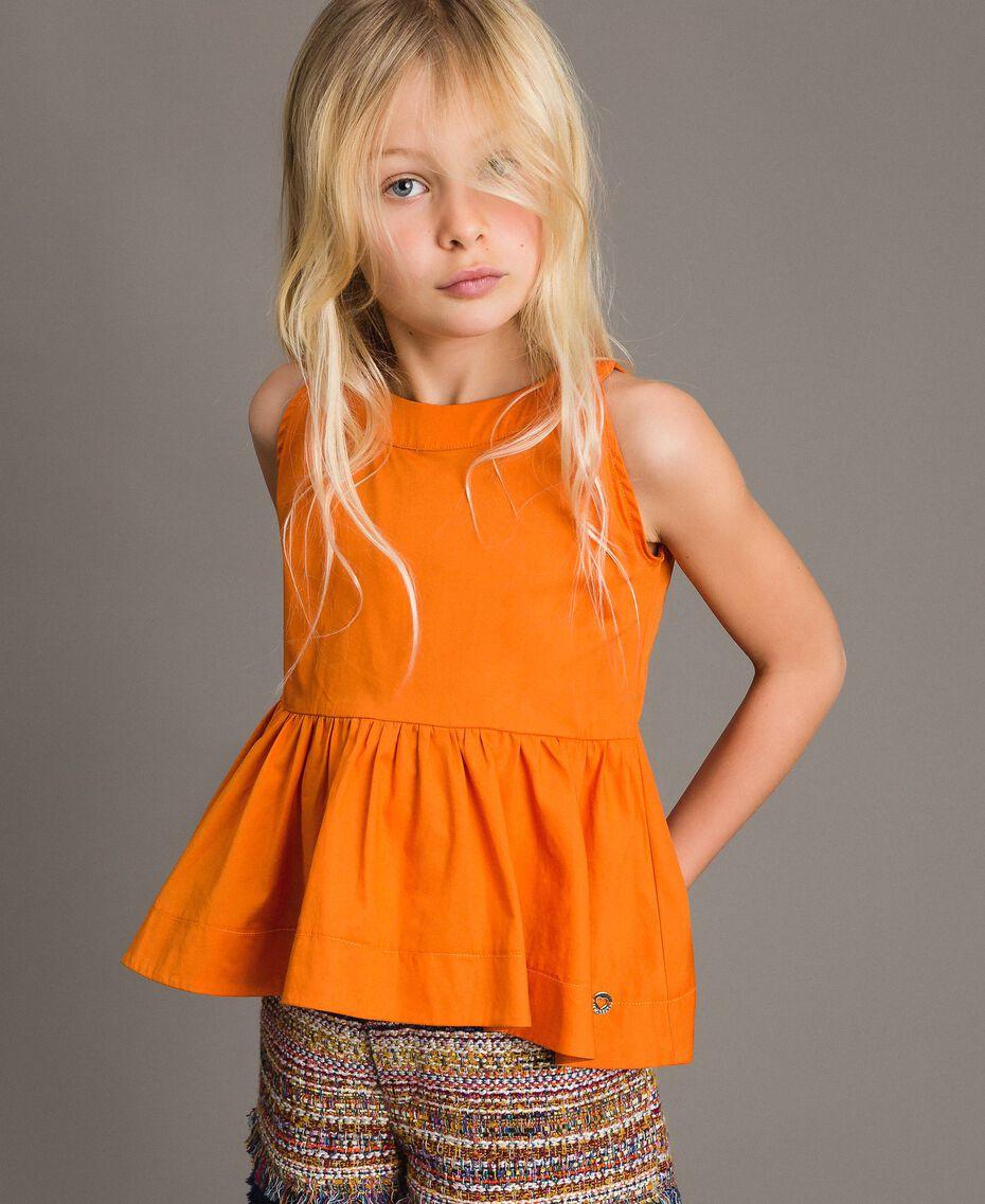 """Stretch-Oberteil aus Popeline """"Summer Orange"""" Kind 191GJ2412-0S"""