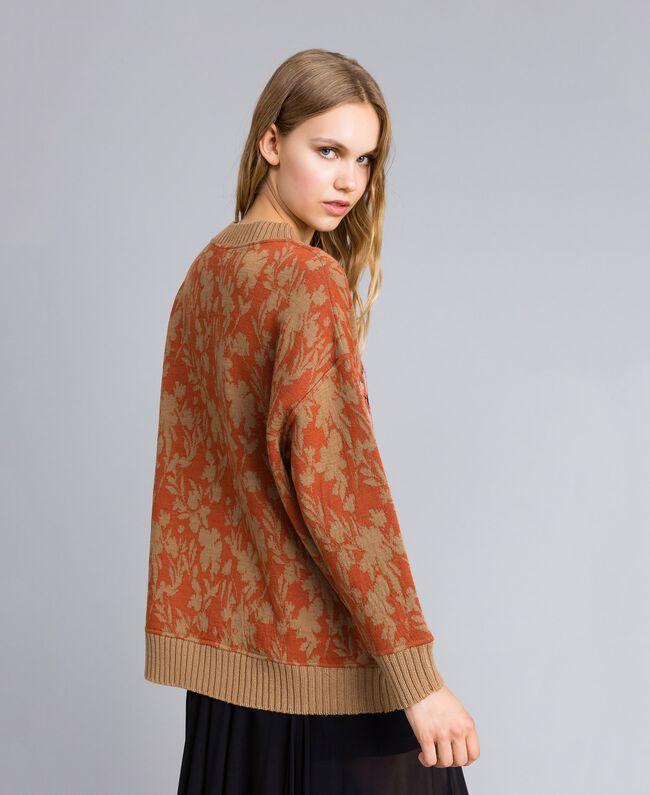 Maxi wool and jacquard lurex jumper Flower and Tiger Jacquard Woman TA83Z1-03