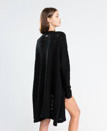 Maxicardigan aus Wollmischung Schwarz Frau LA8PAA-03