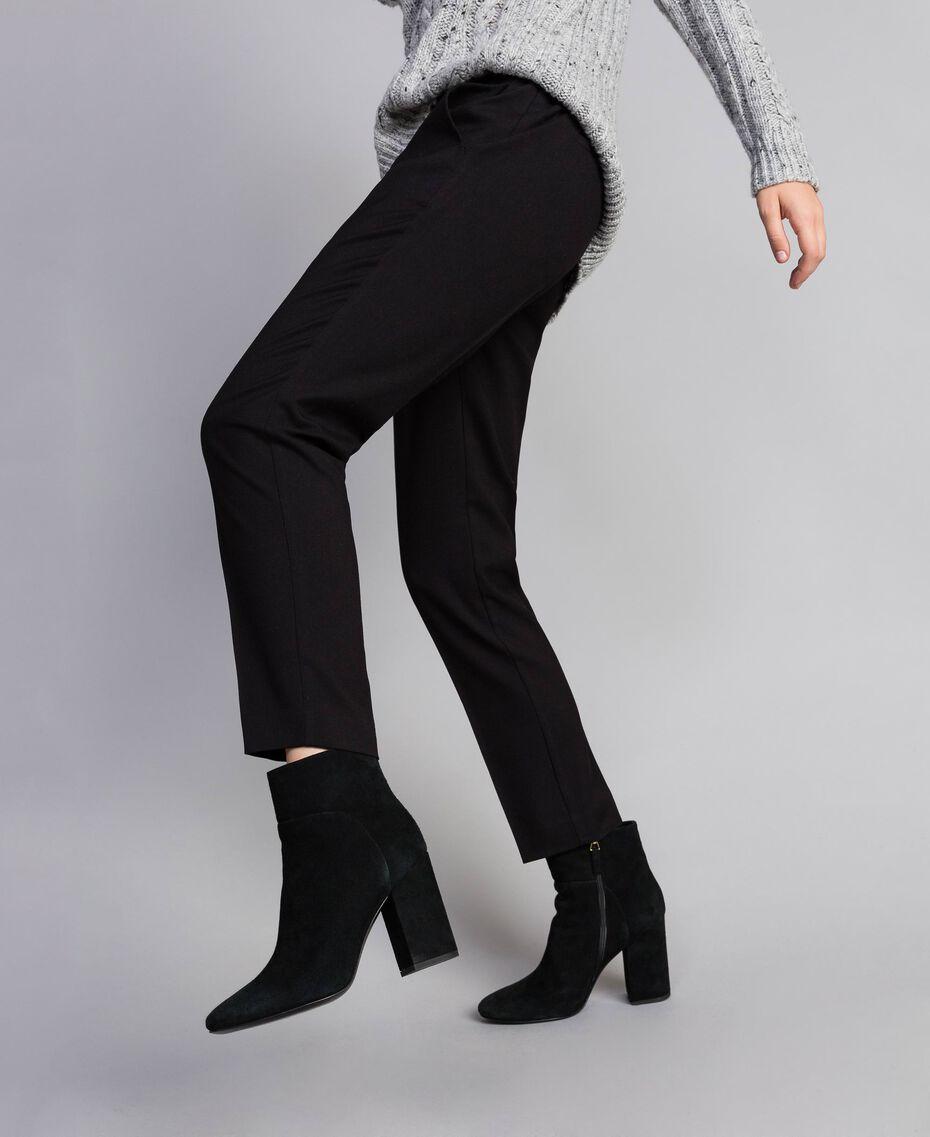 Pantalon cigarette en twill Noir Femme SA82KC-01