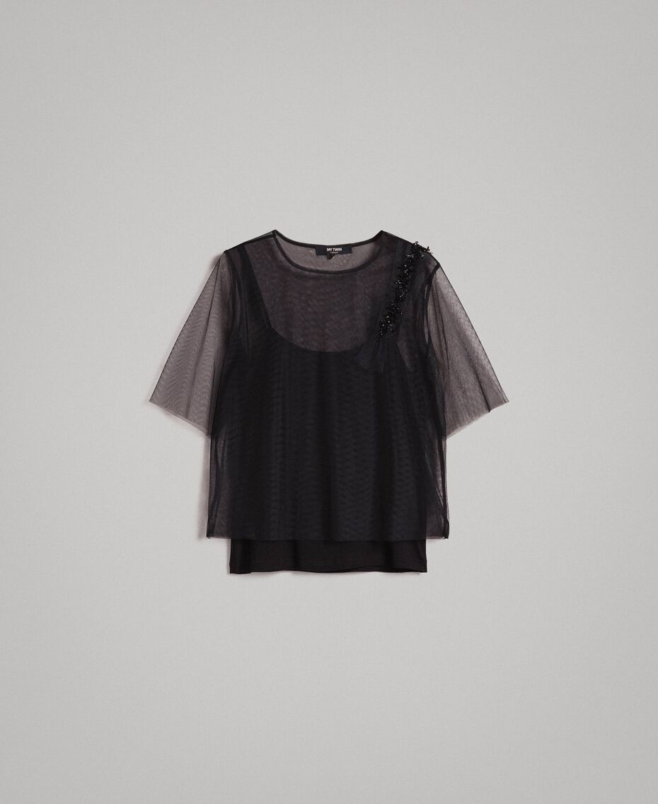 Tulle blouse with patch embroidery Black Woman 191MP2131-0S