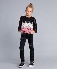 Blouse en dentelle multicolore Multicolore Rose «Blush» / Noir / Roses Enfant GA82QA-0T