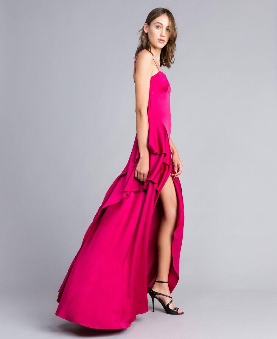 "Langes Kleid ""Anemonen""-Fuchsia Frau QS8TGF-02"