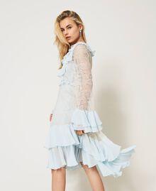 Chantilly lace dress with flounces Mousse Blue Woman 211TQ2121-01