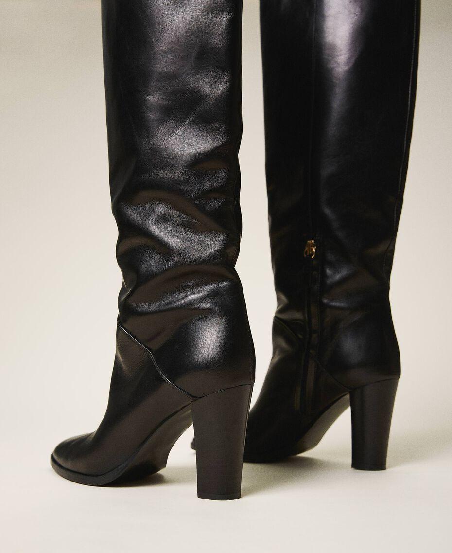 Высокие кожаные сапоги Черный женщина 202TCT084-03