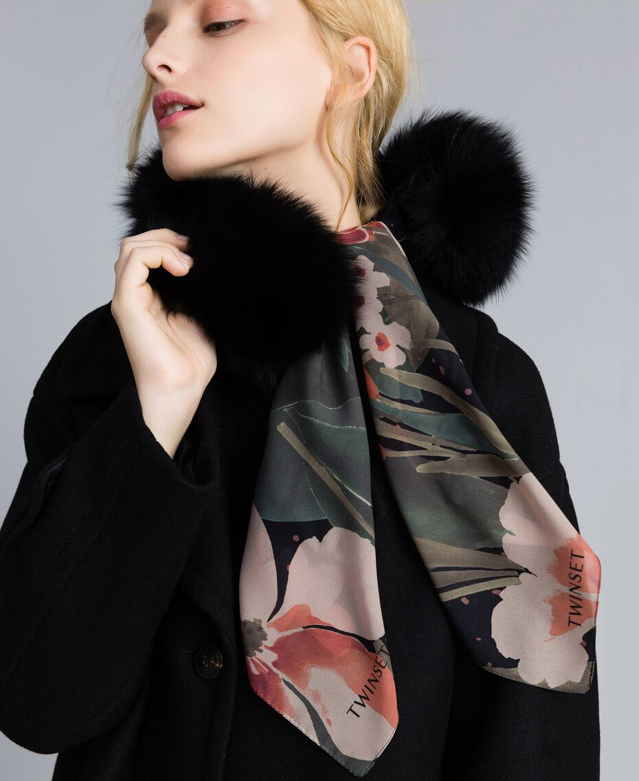 Col en fourrure avec foulard Noir Femme OA8T9A-0S