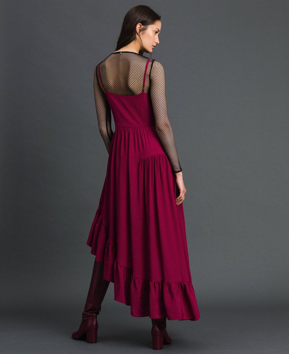 Asymmetrisches Kleid aus Crêpe de Chine aus Seidenmischung Rote-Bete-Rot Frau 192TP2384-03