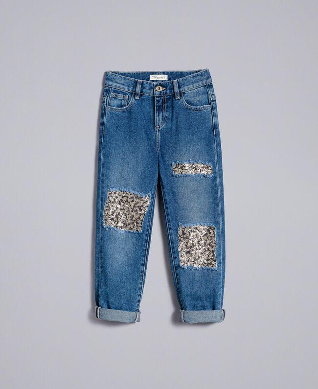 """Jeans aus Denim mit Pailletten Zweifarbig Denimblau / Pailletten """"Bougainville""""-Rosa Kind GA82PD-01"""