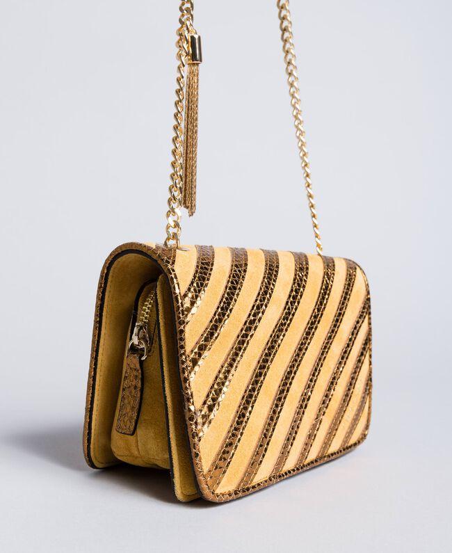 Mini sac à bandoulière en cuir velours Ocre Foncé Femme OA8TD2-04