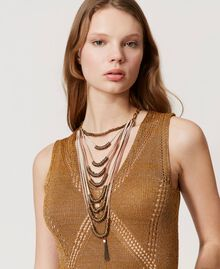 Ожерелье в несколько нитей с металлическим бисером Разноцветный Ленты Состаренная Латунь женщина 211TO501G-0S