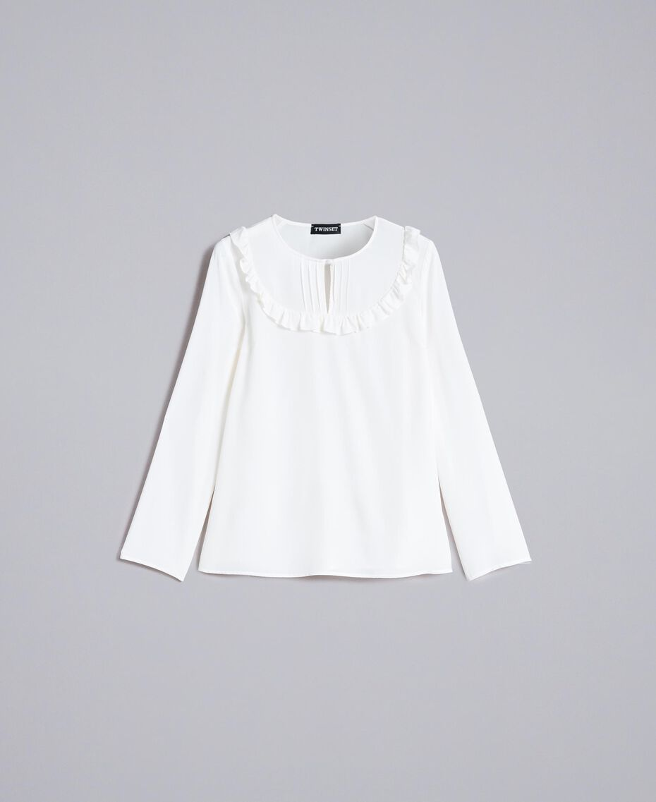 Silk blouse with micro ruches White Snow Woman PA82EJ-0S