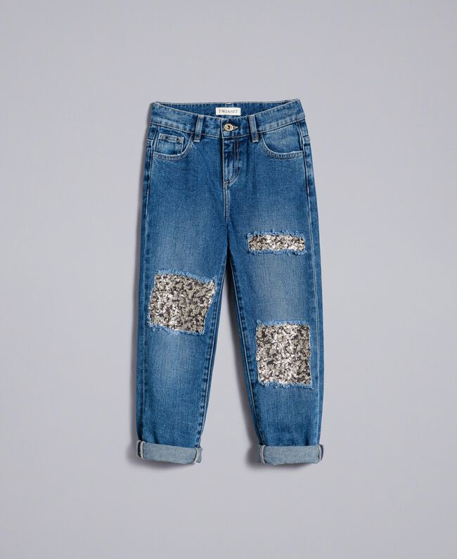 "Jeans in denim con paillettes Bicolor Blu Denim / Paillettes Rosa ""Bouganville"" Bambina GA82PD-01"