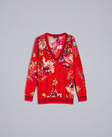 "Bedruckter Pullover aus Wolle mit Strass Print ""Red Garden"" Frau PA83KA-0S"