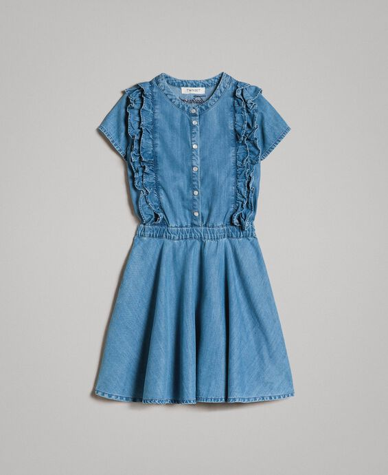 Denim dress with ruches