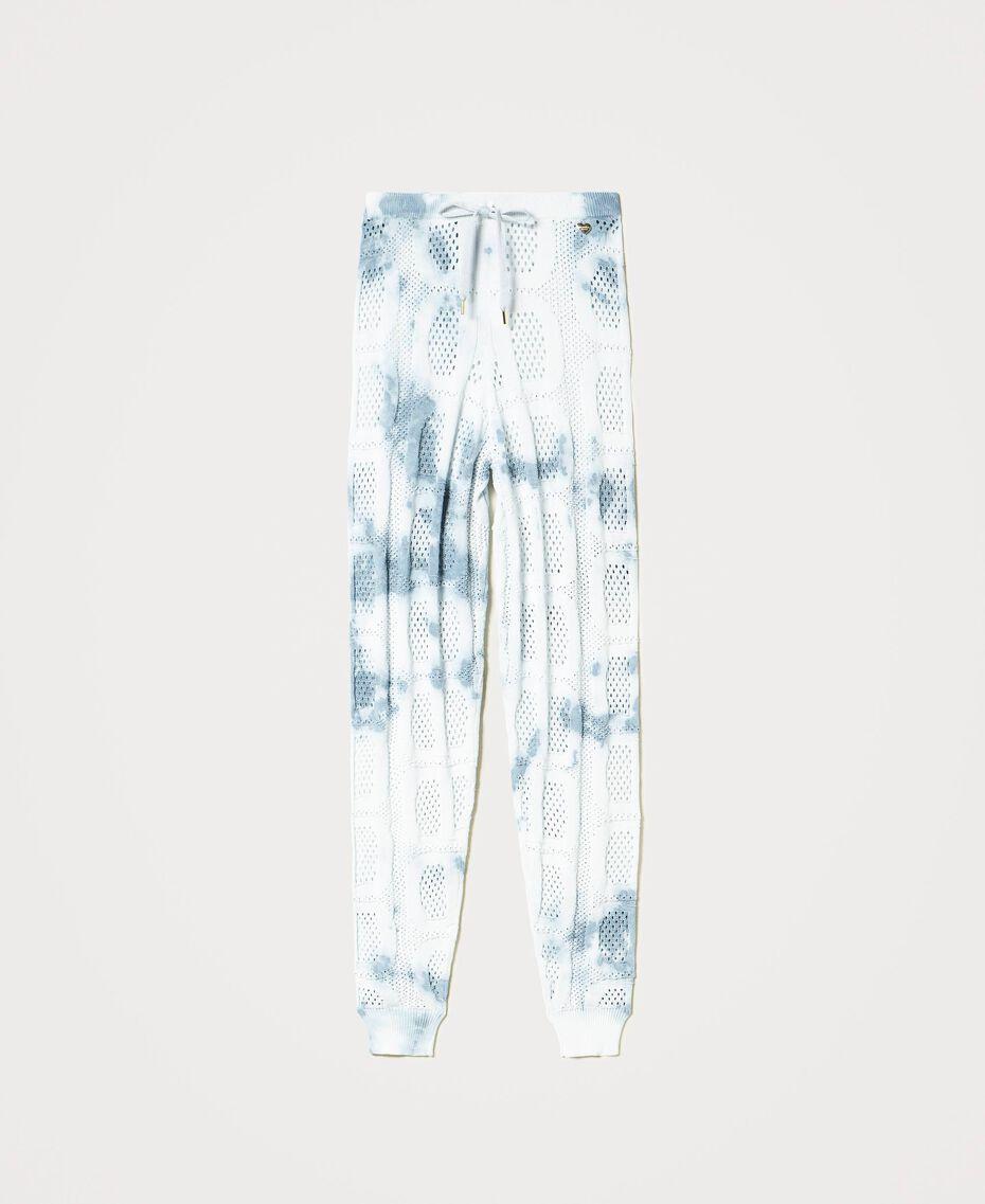 """Pantaloni jogging in maglia con logo Tie Dye Tricot Bianco """"Neve"""" / Blu """"Nautical"""" Donna 211TT3252-0S"""