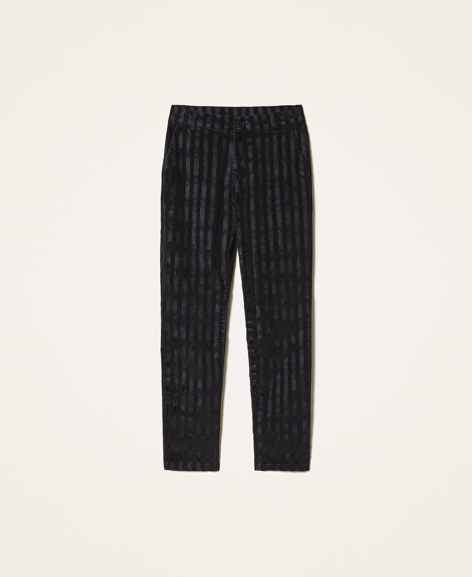 Pinstripe effect regular jeans Black Denim Woman 202MP2231-0S