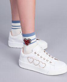 Chaussettes côtelées avec patch strass Blanc Neige Femme AA8P6G-0S