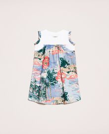 """Linen blend printed dress """"Hawaii"""" Blue Print / """"Papers"""" White Child 201GB2341-0S"""