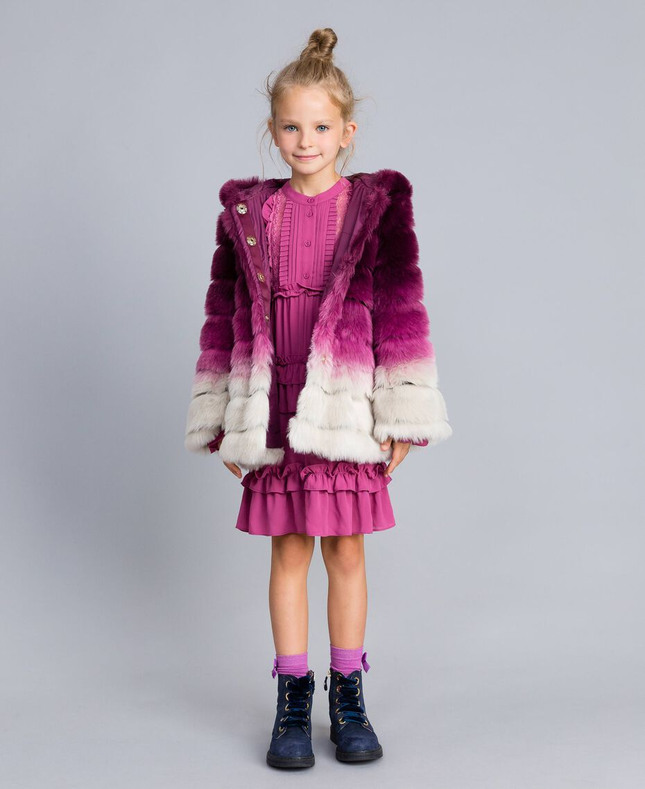 "Faux fur reversible jacket ""Grape"" Purple / ""Bougainvillea"" Pink Gradient Print Child GA82AR-0T"