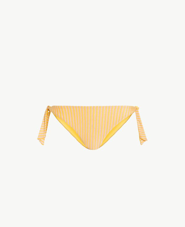 Bikinitanga mit Streifen und Schleifen Lurexstreifen Yellow Fizz Frau MS8C77-01