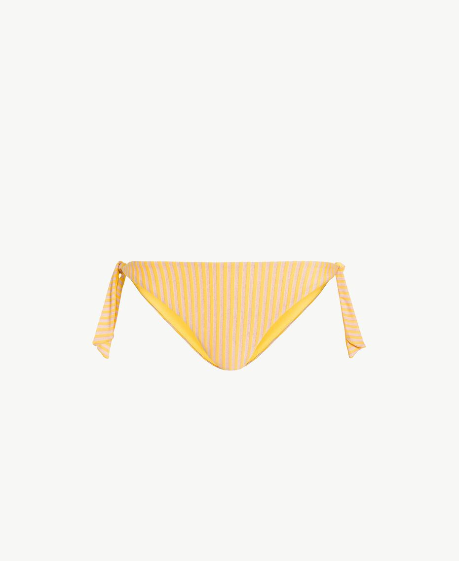 Striped tanga with bows Yellow Fizz Lurex Stripes Woman MS8C77-01