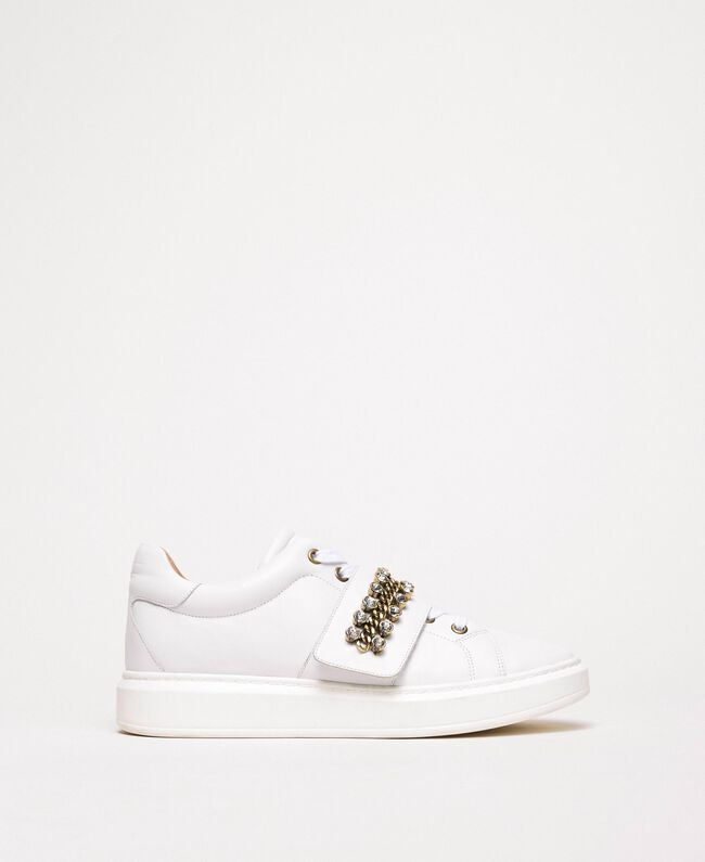 Leather trainers with bezels White Woman 201TCP094-01