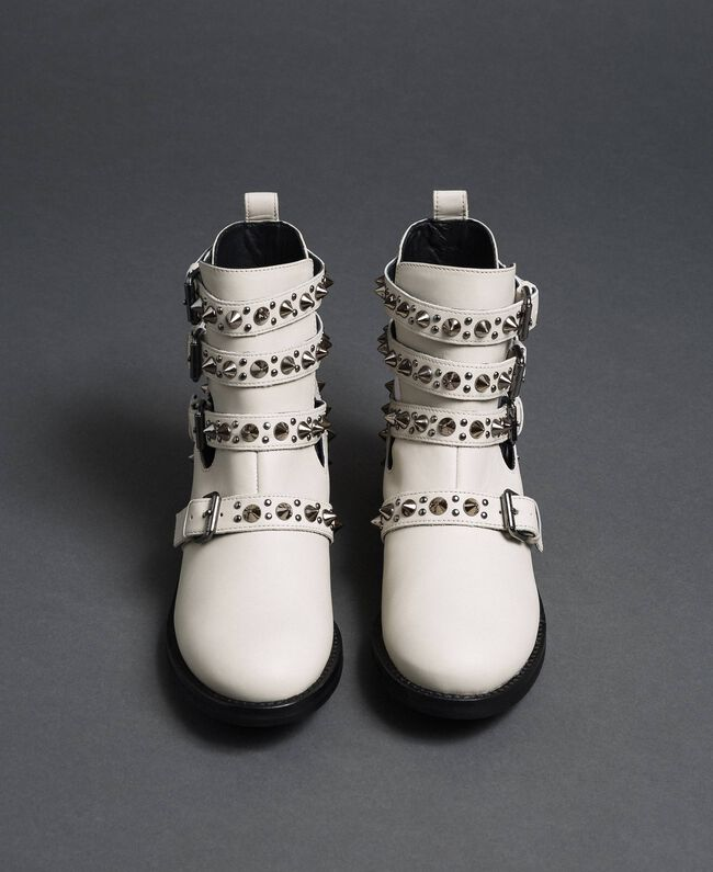 Leather biker boots with straps and studs White Snow Woman 192TCP01U-05