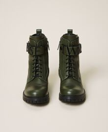 Combat boots with lettering logo Dark Olive Green Woman 202TCP03G-05
