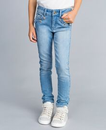 Skinny jeans with stones and rhinestones Light Denim Child GA82VN-04