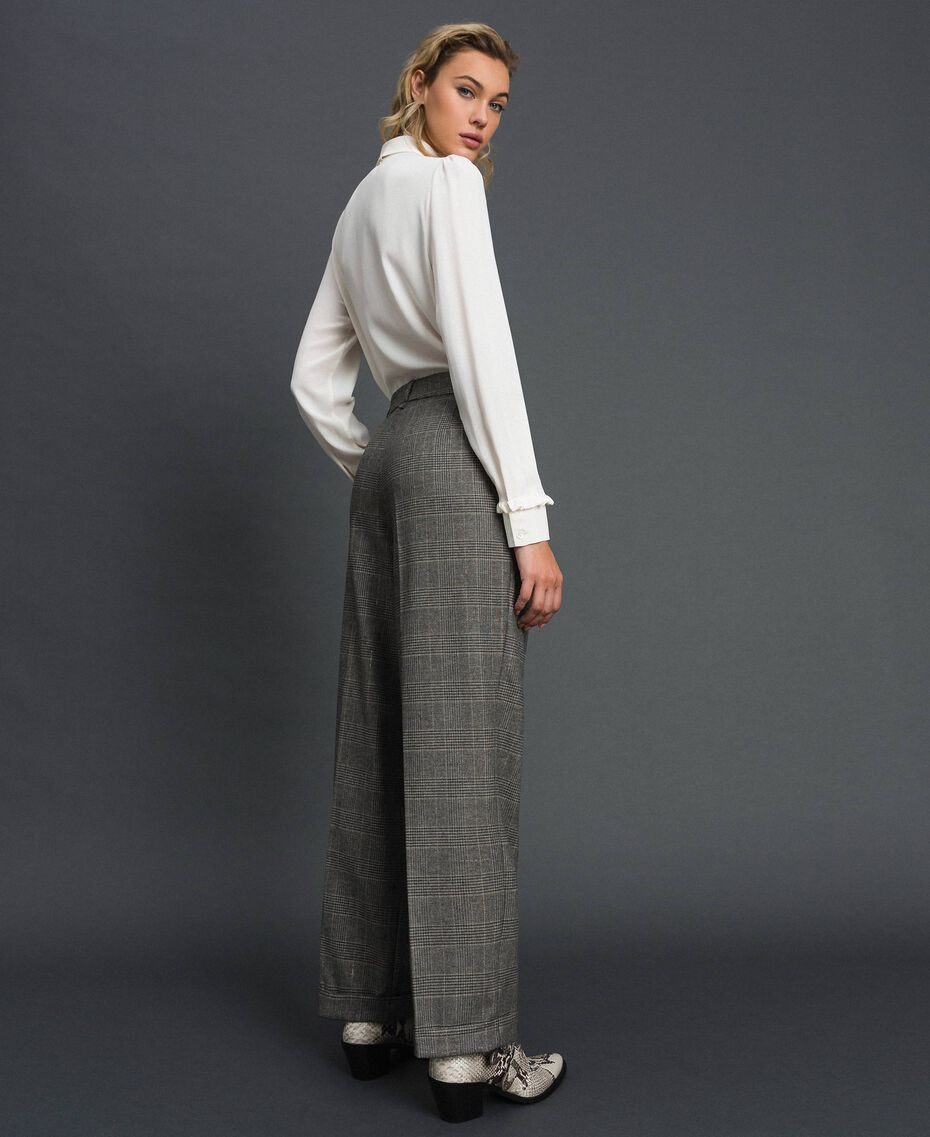 Pantaloni wide leg in principe di Galles Disegno Galles Grigio Scuro Lurex Donna 192TT244A-03