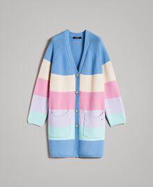 Maxi cardigan rayé Multicolore Couleur Pastel Femme 191MP3010-0S