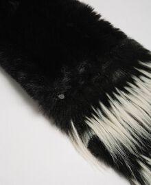 Two-tone faux fur stole Black Woman 192TA4400-02