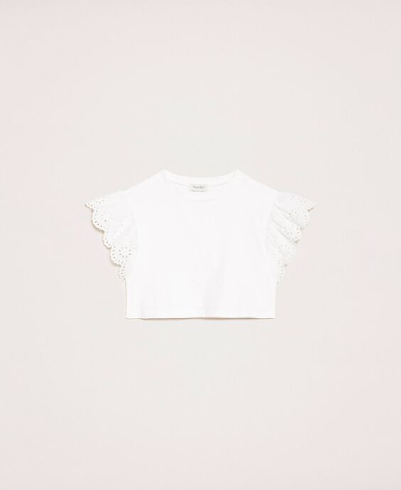 Cropped T-shirt with broderie anglaise embroidery