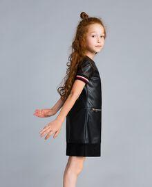 """Mini abito in similpelle con ricami Bicolor Nero / Rosso """"Papavero"""" Bambina GA82B2-02"""