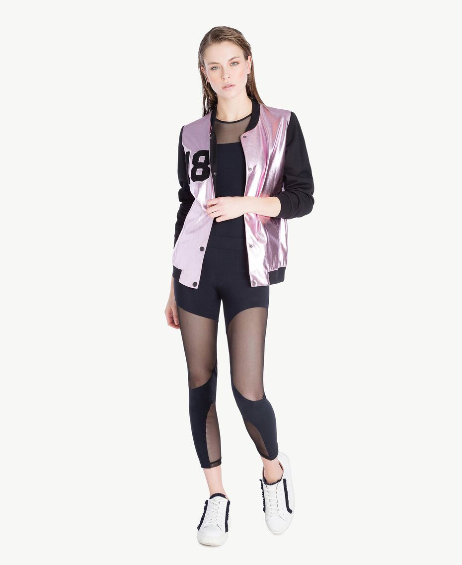 "Faux leather bomber Two-tone ""Sparkling Rose"" Pink / Black Woman LS8400-02"