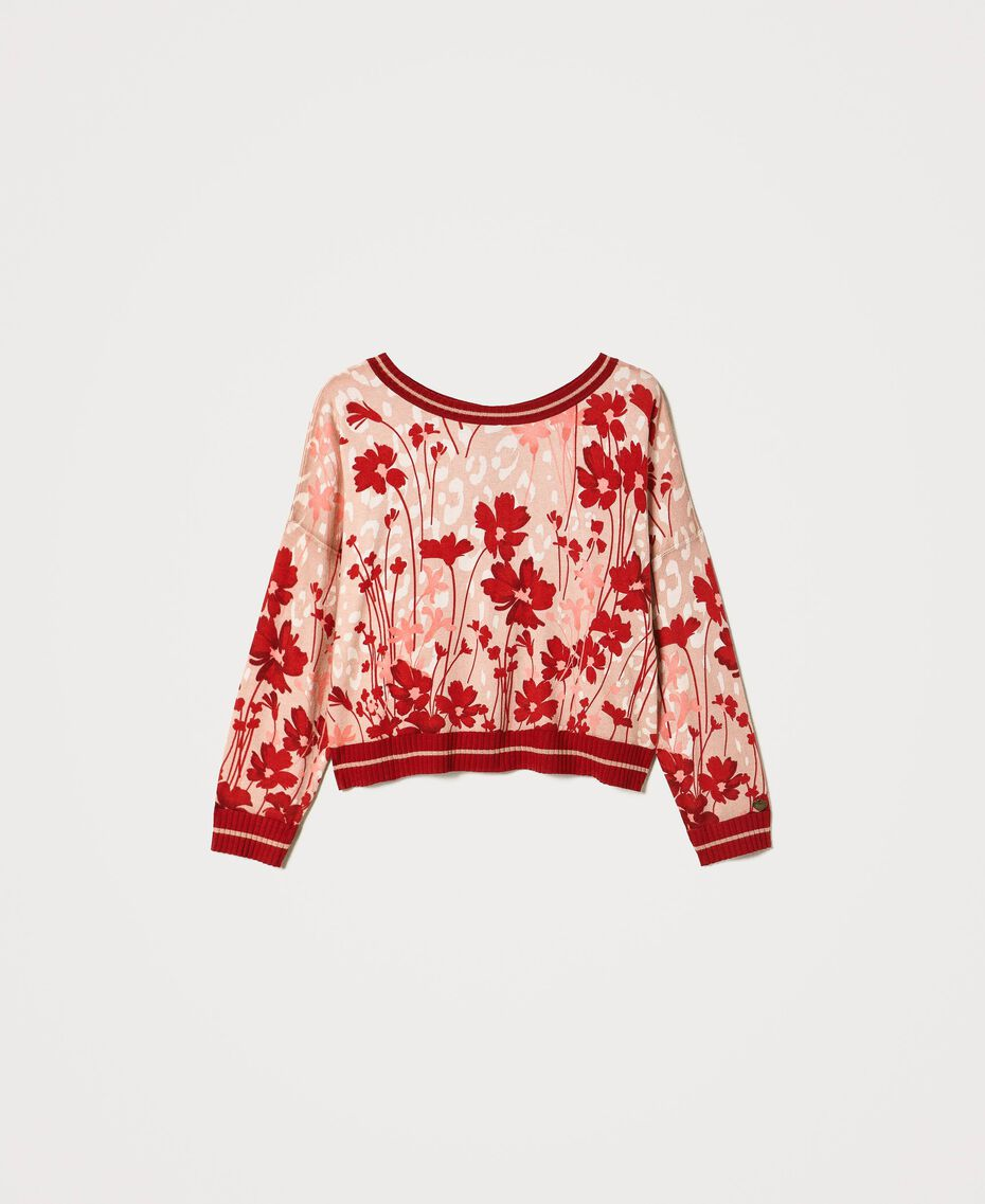"""Floral jumper-cardigan Peach / """"Cherry"""" Red Flowers Animal Print Woman 202TP3500-0S"""