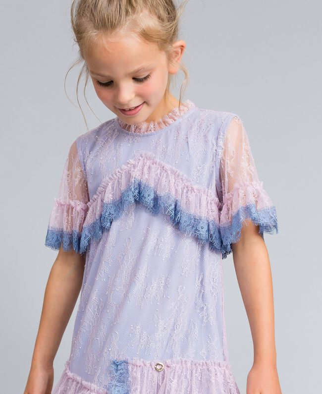 "Chantilly lace dress Bicolour ""Polynesian"" Light Blue / ""Bougainvillea"" Pink Child GA82YA-04"