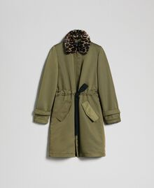 Technical satin coat with animal print collar Green Vetiver Woman 192MP2121-0S